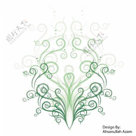 绿色的对称图案矢量素材
