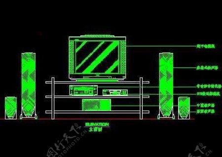 电视机图块视听设备图块影院音响组合图块电脑CAD图块48