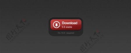 红黑色3D下载按钮PSD