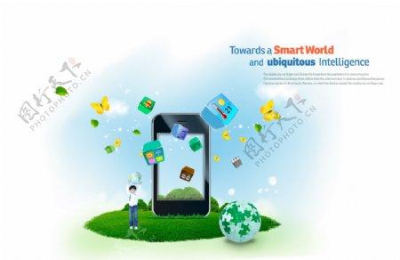 手机前围绕着手机图标的地球