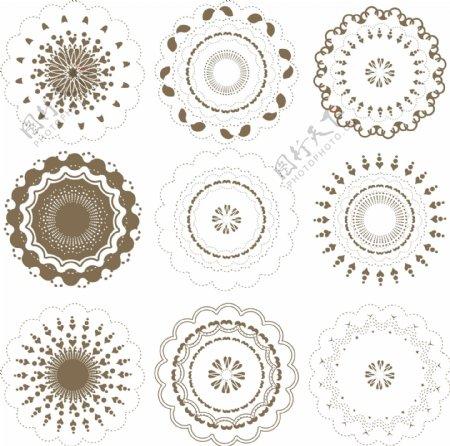 古典花纹对称图案蕾丝花纹圆形