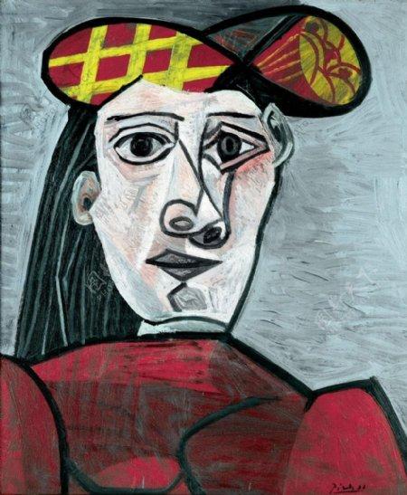 1943Bustedefemmeauchapeau西班牙画家巴勃罗毕加索抽象油画人物人体油画装饰画