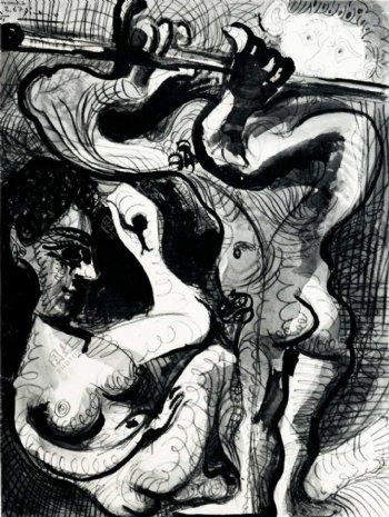 1967Nuassisetflutiste2西班牙画家巴勃罗毕加索抽象油画人物人体油画装饰画
