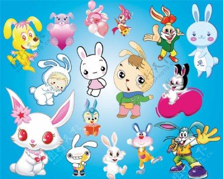 可爱的卡通兔子PSD下载