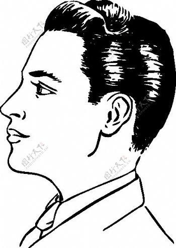 男人的发型侧视图剪贴画