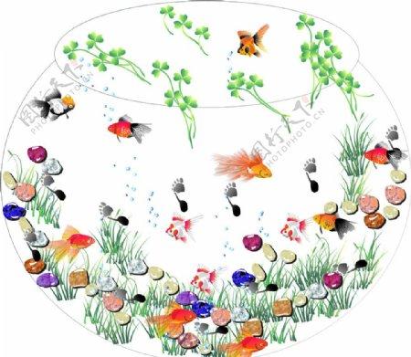 鱼缸里的小金鱼图片