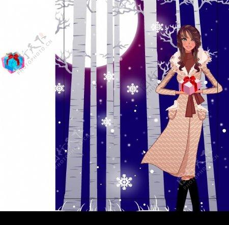 月光下时尚礼物女生矢量图图片
