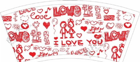 情人节涂鸦纸杯图片