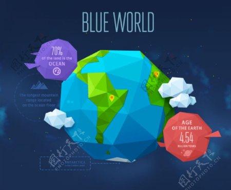折纸风格地球矢量图图片