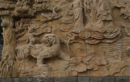 大禹治水雕塑图片