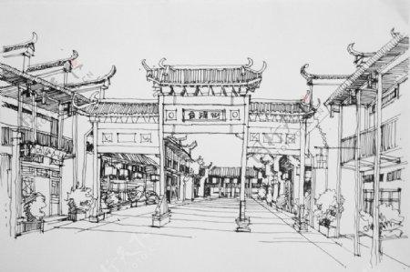 徽派商业街牌坊手绘图片