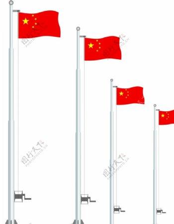 旗杆五星红旗国旗旗子图片