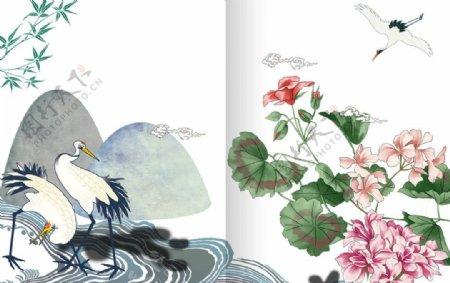 花朵仙鹤图片
