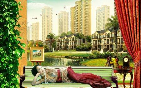 尊贵领地房地产广告美女房产图片