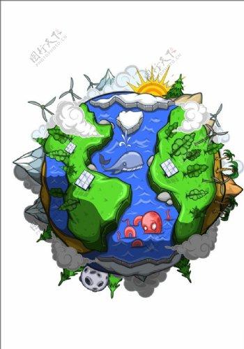 手绘卡通地球矢量图下载