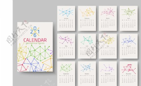 线条星状2016年日历表