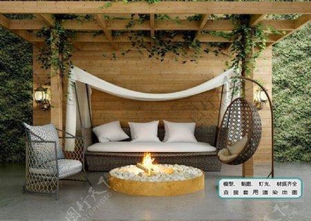 植物墙藤沙发吊椅火盆阳台