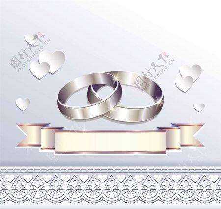 戒指丝带婚礼请贴图片