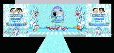 机器猫主题婚礼背景
