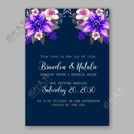 盛开的紫色花朵婚礼请贴矢量素材