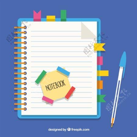 具有书签和笔的笔记本