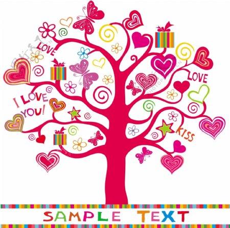 心形礼品树花纹矢量图图片