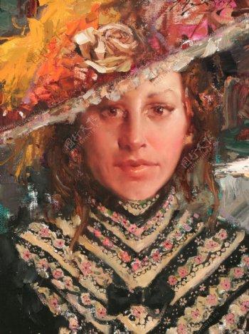 戴帽子的古代欧洲美女油画图片