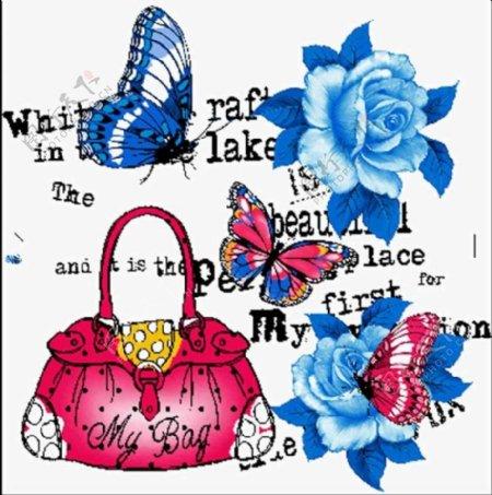 蓝玫瑰女包服装印花图案