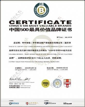 中国500强最具价值品牌证书
