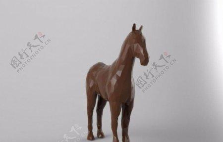 低多边形马3D打印模型