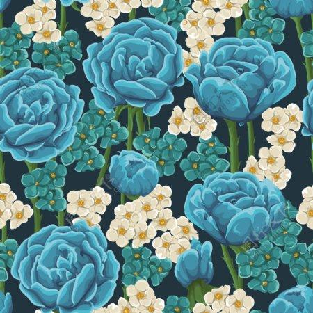 蓝玫瑰花卉无缝背景矢量素材图片