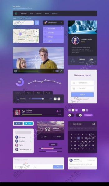 紫色风格手机界面UI元素图标