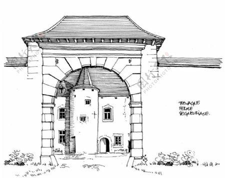 欧式拱形门庭