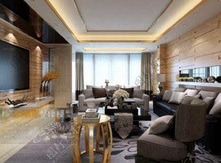 客厅空间场景设计3D模型素材免费下载
