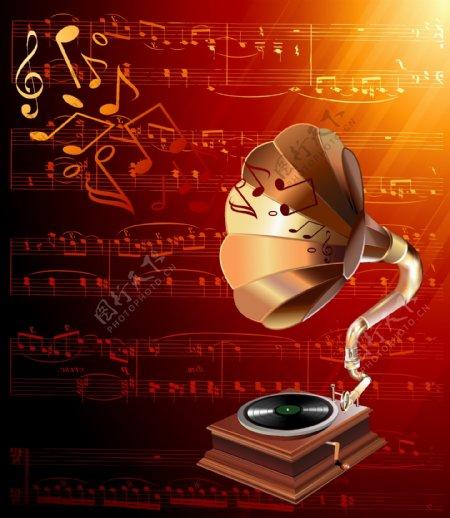 动感线条五线谱喇叭唱片机音乐背景