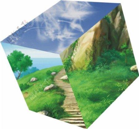 风景正方形图案
