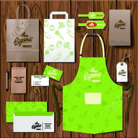 绿色手绘厨房卡通矢量vi素材