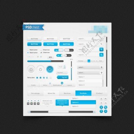 蓝白色的网页设计UI元素