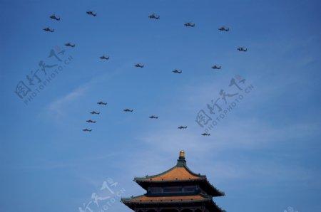 抗战70周年纪念阅兵直升机编队
