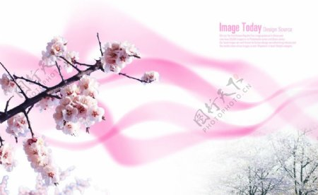 粉色桃花梦幻背景素材