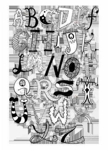 另类黑白卡通艺术字母上
