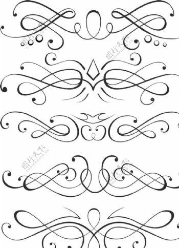 对称图案线条连结环元素网