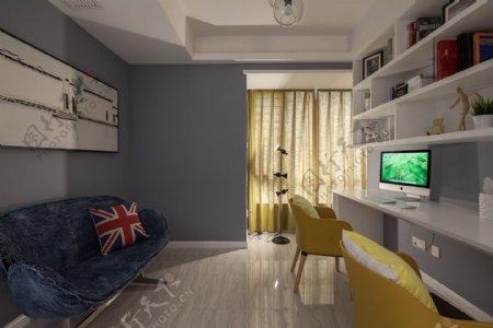 清新卧室神蓝色背景墙室内装修效果图