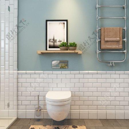 盥洗室浅蓝色背景墙效果图