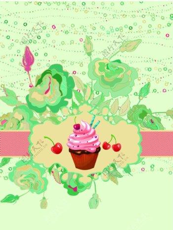 复古草莓纸杯蛋糕海报矢量图