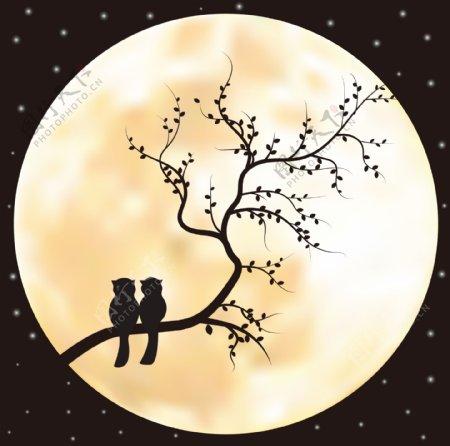 情人节中秋月下动物团圆剪影背景图