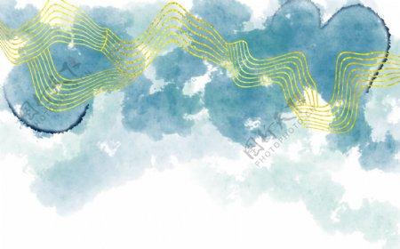 中国风水墨抽象线条彩色装饰背景墙
