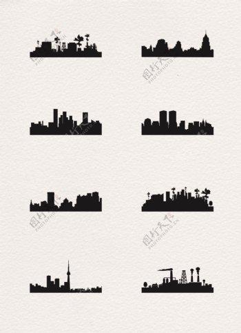 城市高楼矢量剪影