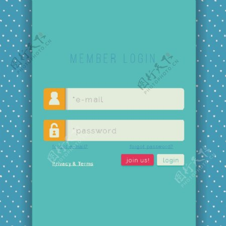 清新可爱白色斑点底纹ui网页登录页面