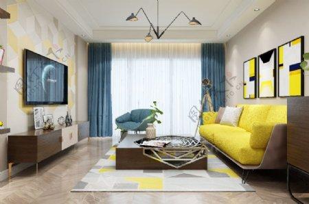 现代流行时尚客厅效果图